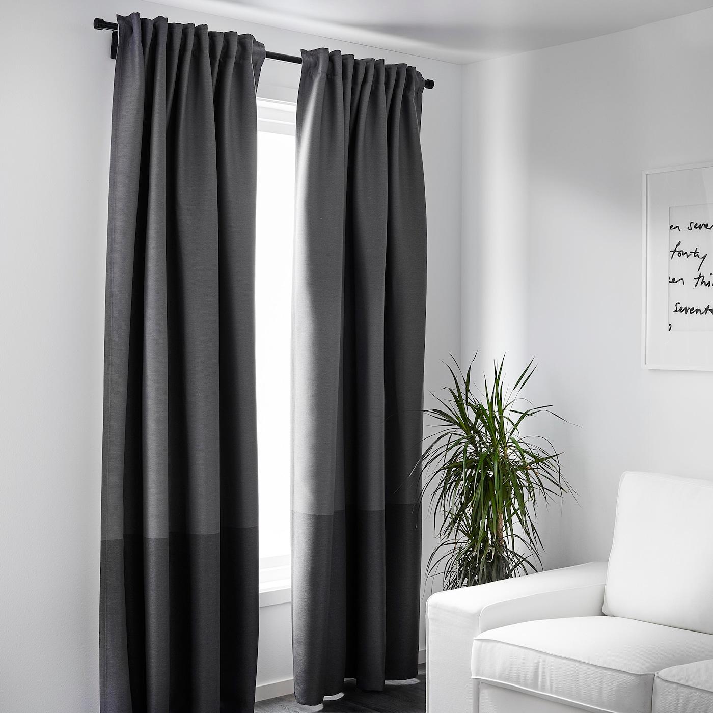 Marjun Blackout Curtains 1 Pair Gray 57x98 Ikea