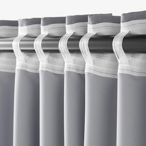 """MARJUN Room darkening curtains, 1 pair, gray, 57x98 """""""