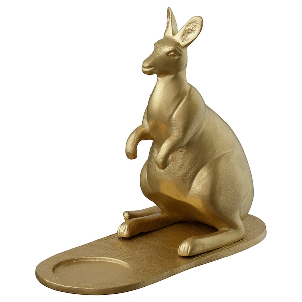 "MARKNIVÅ Tealight holder, kangaroo brass color, 5 ½ """