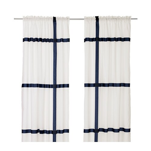 MARMORBLAD Curtains, 1 pair IKEA The curtains let the light through but provide privacy so they are perfect to use in a layered window solution.