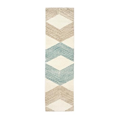 MARSLEV Rug, high pile, turquoise, beige