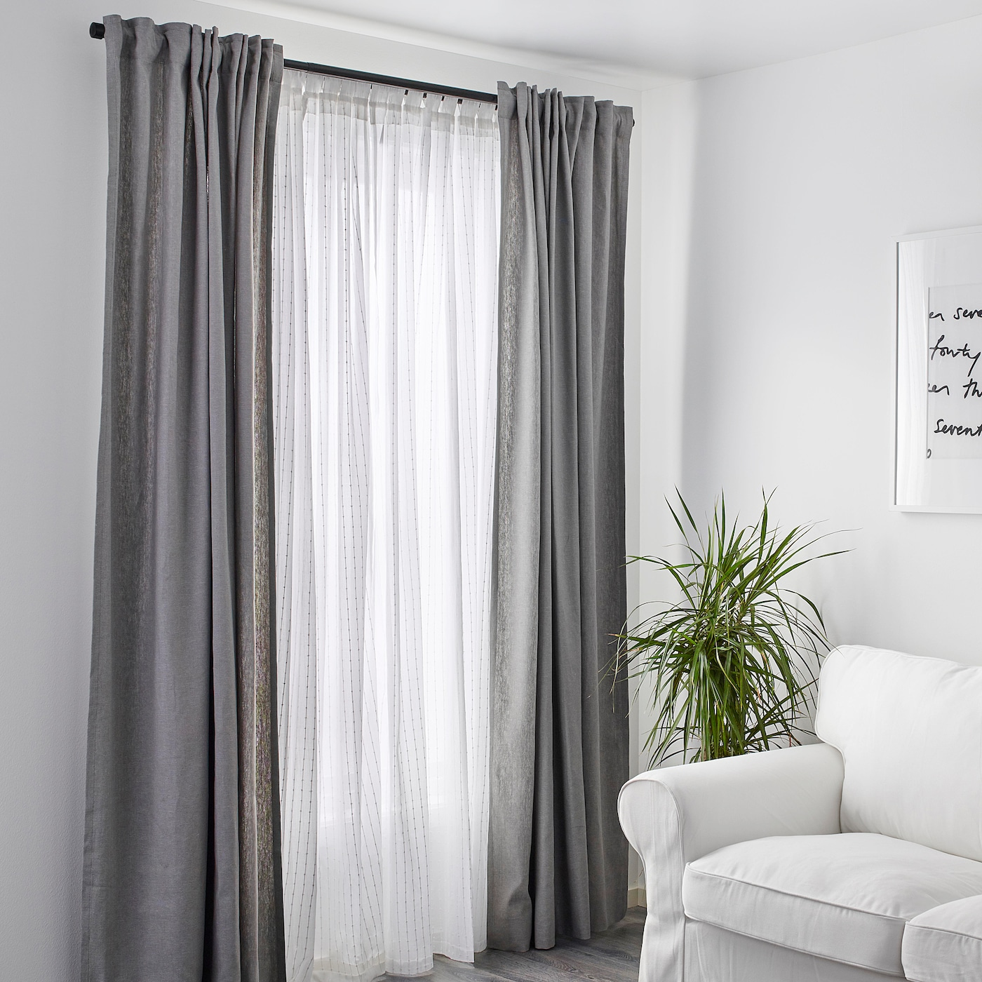 MATILDA Sheer curtains, 1 pair - white 55x98 ""