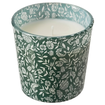 "MEDKÄMPE scented candle in glass Sweet vanilla/green 3 "" 25 hr"