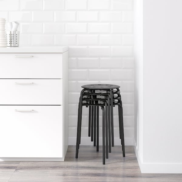 "MELLTORP / MARIUS Table and 2 stools, white/black, 29 1/2 """