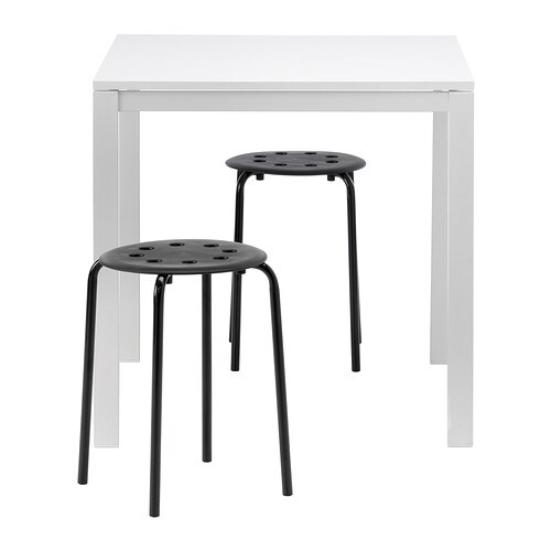 Melltorp marius table and 2 stools ikea - Table basse ikea noir ...