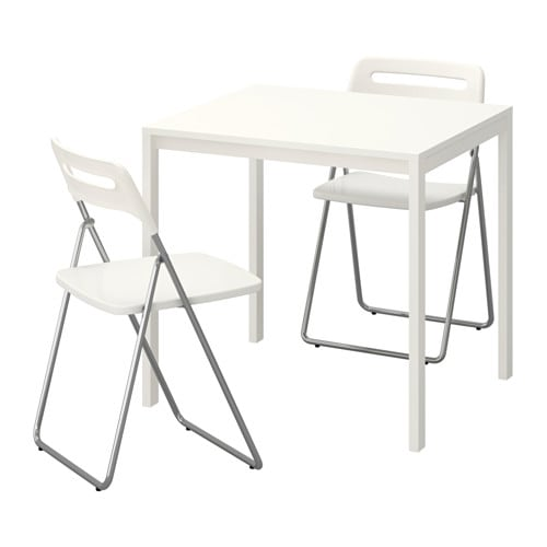 MELLTORP / NISSE Table and 2 folding chairs, white, white