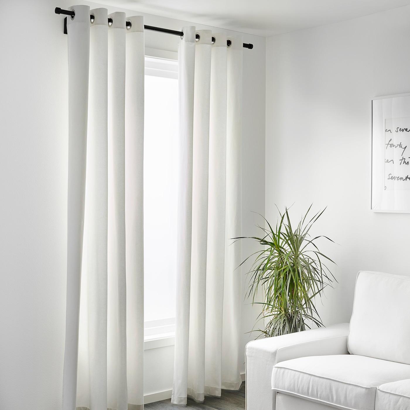 Merete Room Darkening Curtains 1 Pair Bleached White 57x98 Ikea