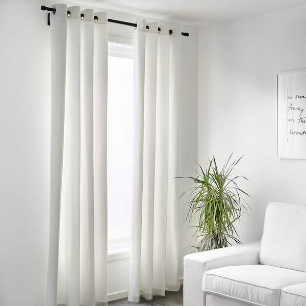 """MERETE Room darkening curtains, 1 pair, white, 57x118 """""""