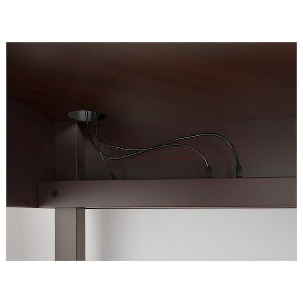 "MICKE Corner workstation, black-brown, 39 3/8x55 7/8 """
