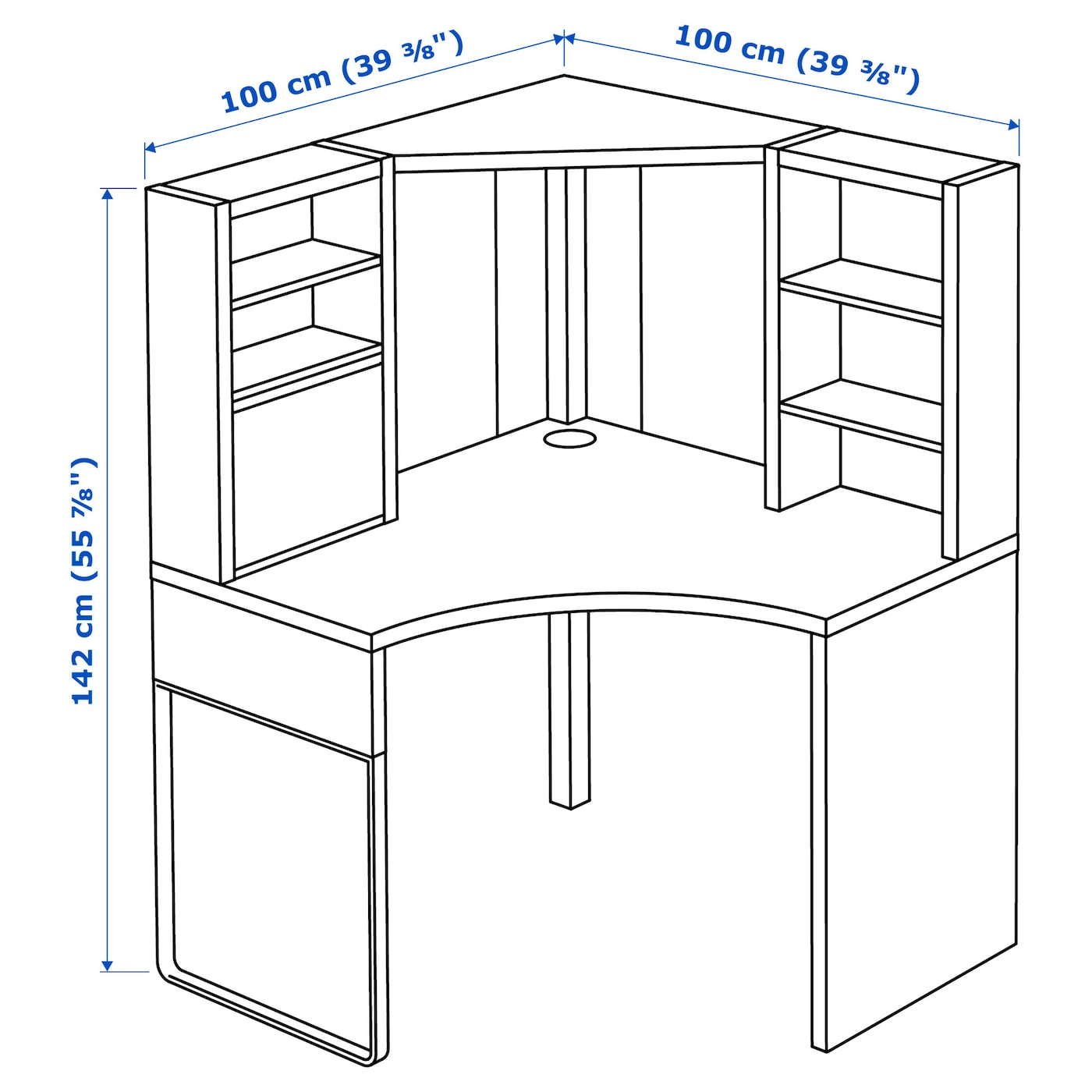 "MICKE Corner workstation, white, 46 46/46x46 46/46"" - IKEA"