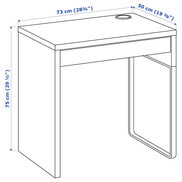 """MICKE Desk, white, 28 3/4x19 5/8 """""""