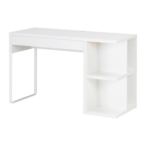 Micke desk with integrated storage white ikea for Bureau blanc ikea