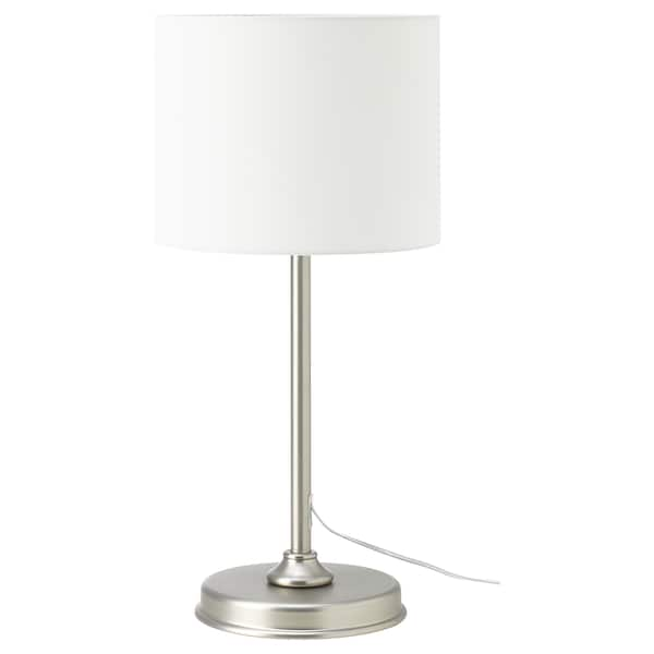 MILLERYR Table lamp with LED bulb, white/nickel plated