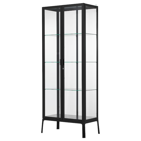 """MILSBO Glass-door cabinet, anthracite, 28 3/4x68 7/8 """""""