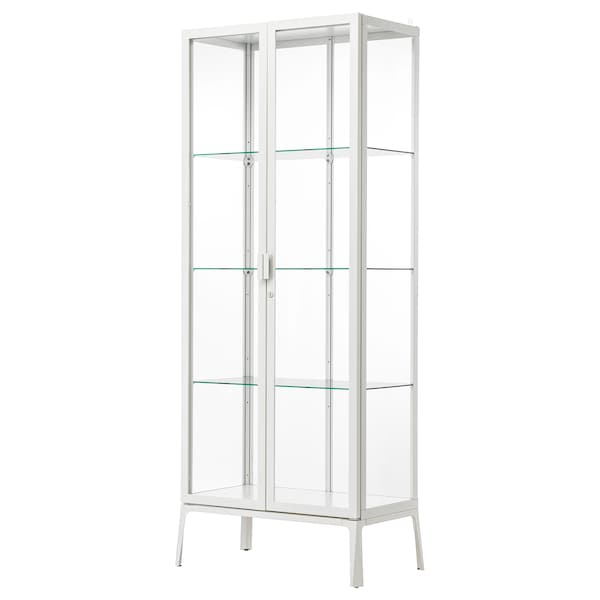 MILSBO Glass-door cabinet, white, 28 3/4x68 7/8 ""