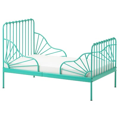 MINNEN Ext bed frame with slatted bed base, turquoise, 38 1/4x74 3/4 ""