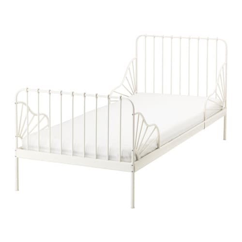 MINNEN Ext bed frame with slatted bed base, white white 38 1/4x74 3/4