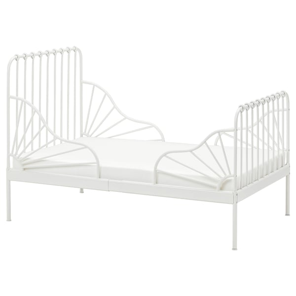 """MINNEN Ext bed frame with slatted bed base, white, 38 1/4x74 3/4 """""""