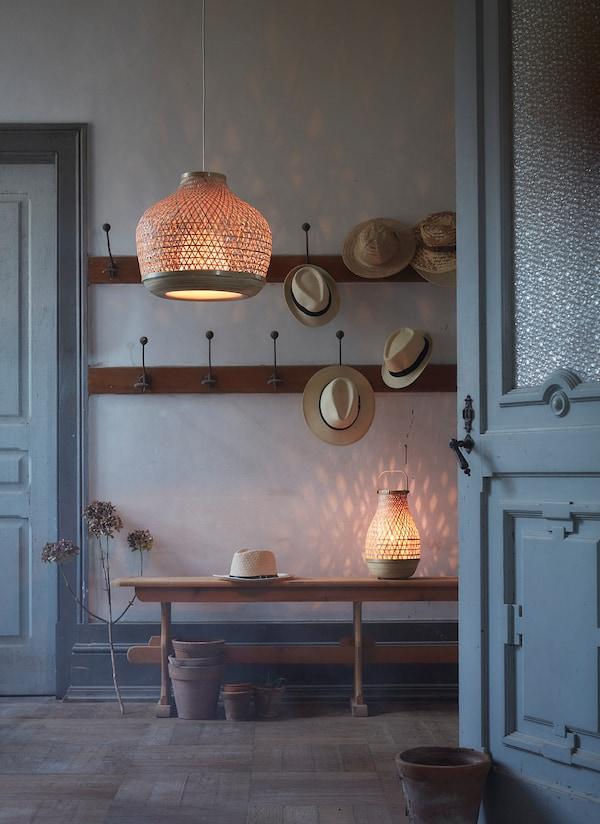 """MISTERHULT Pendant lamp, bamboo/handmade, 18 """""""