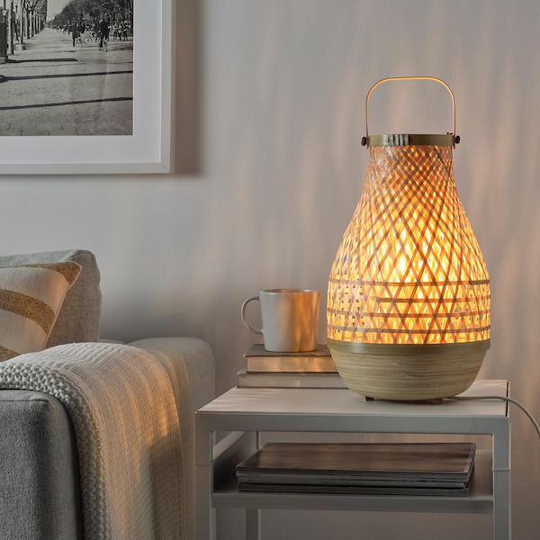 "MISTERHULT Table lamp with LED bulb, bamboo/handmade, 14 """