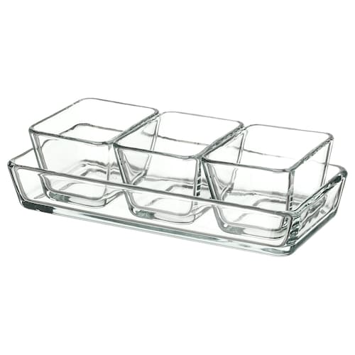 MIXTUR oven/serving dish, set of 4 clear glass