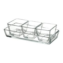 MIXTUR oven/serving dish, set of 4, clear glass