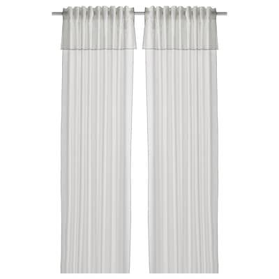 "MOALISA Curtains, 1 pair, white/black, 57x98 """