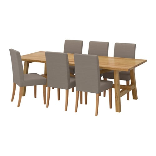 MÖCKELBY / HENRIKSDAL Table and 6 chairs, oak, Nolhaga gray-beige