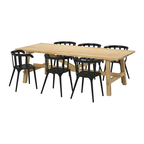 MÖCKELBY / IKEA PS 2012 Table and 6 chairs, oak, black
