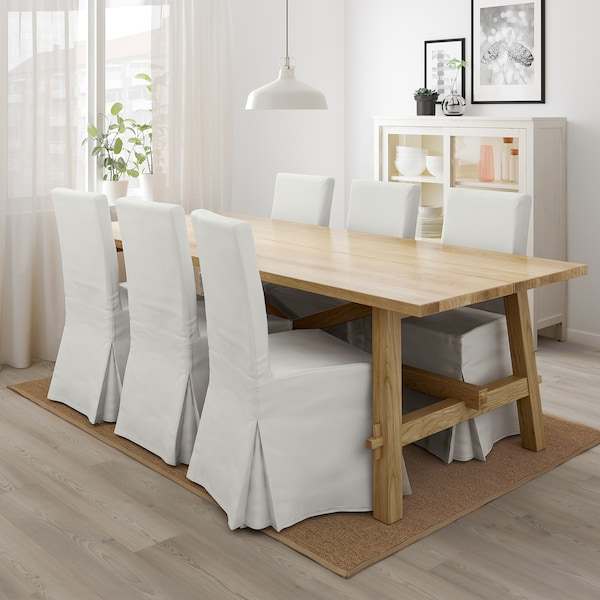 MÖCKELBY / HENRIKSDAL Table and 6 chairs, white/Blekinge white, 92 1/2x39 3/8 ""