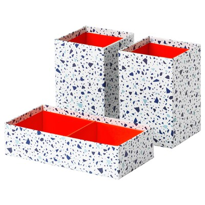MÖJLIGHET Box, set of 3, red/mosaic patterned
