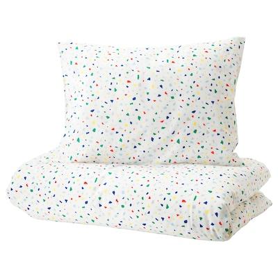 MÖJLIGHET Duvet cover and pillowcase(s), white/mosaic patterned, Twin