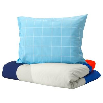 """MÖJLIGHET duvet cover and pillowcase(s) blue/graphical patterned 86 """" 64 """" 20 """" 30 """""""