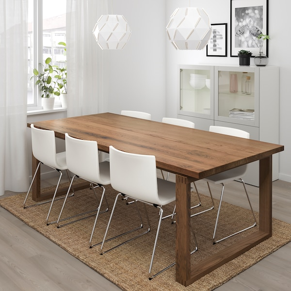 "MÖRBYLÅNGA / BERNHARD Table and 6 chairs, brown/Kavat white, 86 5/8x39 3/8 """