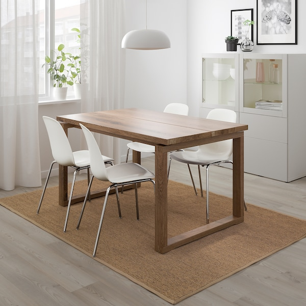 """MÖRBYLÅNGA / LEIFARNE Table and 4 chairs, brown/white, 55 1/8x33 1/2 """""""