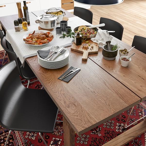 Morbylanga Table Oak Veneer Brown Stained Length 86 5 8 Ikea