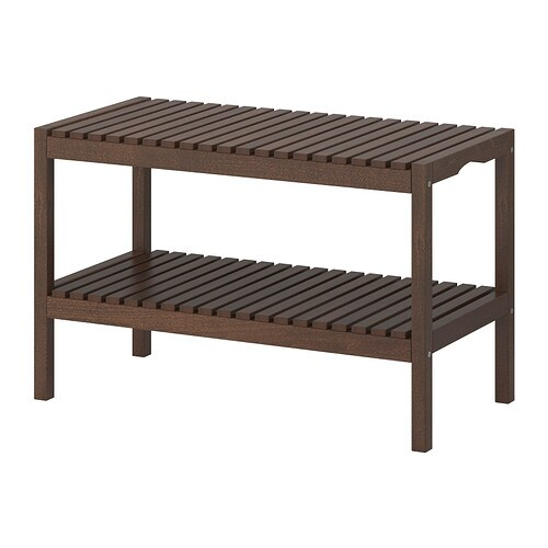 Molger bench dark brown ikea for Banco de jardin ikea
