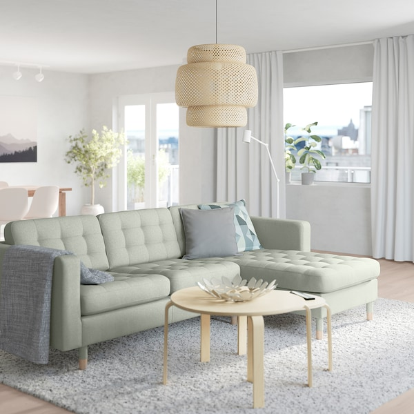 "MORABO sofa with chaise/Gunnared light green/wood 96 1/8 "" 31 7/8 "" 50 3/8 "" 26 3/8 "" 31 7/8 "" 26 3/8 "" 62 1/4 "" 36 1/4 "" 6 1/4 "" 5 1/8 "" 85 7/8 "" 24 "" 18 1/2 """