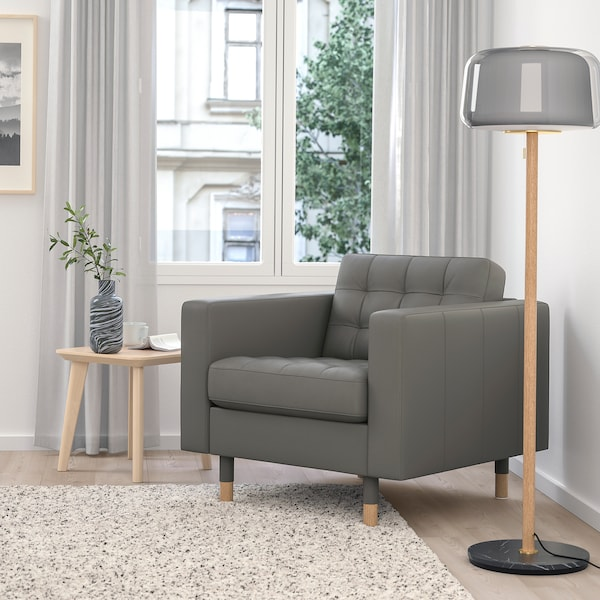 "MORABO armchair Grann/Bomstad gray-green/wood 35 7/8 "" 36 1/4 "" 31 7/8 "" 6 1/4 "" 5 1/8 "" 25 5/8 "" 24 "" 18 1/2 """