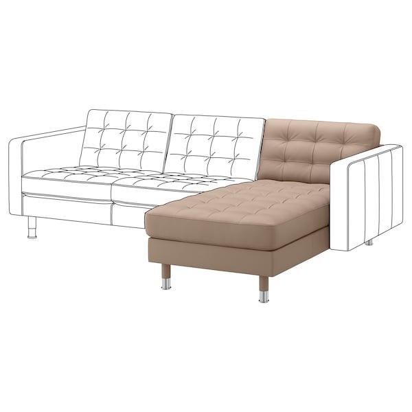MORABO Chaise, add-on unit, Grann/Bomstad dark beige/metal