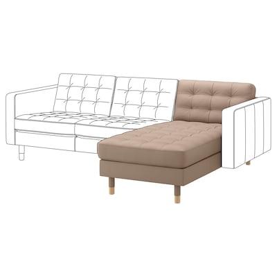 MORABO Chaise, add-on unit, Grann/Bomstad dark beige/wood