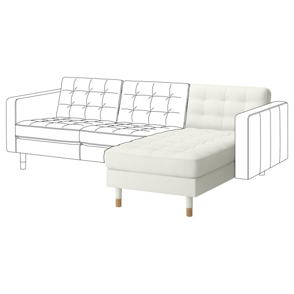 MORABO Chaise, add-on unit, Grann/Bomstad white/wood