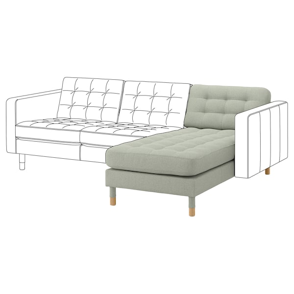 """MORABO chaise, add-on unit Gunnared light green/wood 30 3/4 """" 62 1/4 """" 31 7/8 """" 50 3/8 """" 18 1/2 """""""