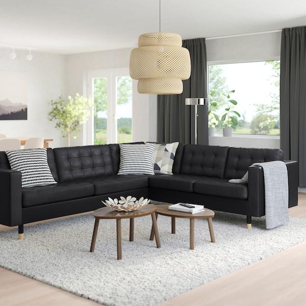 MORABO Sectional, 5-seat corner, Grann/Bomstad black/wood