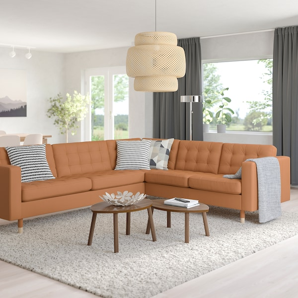 MORABO Sectional, 5-seat corner, Grann/Bomstad golden brown/wood