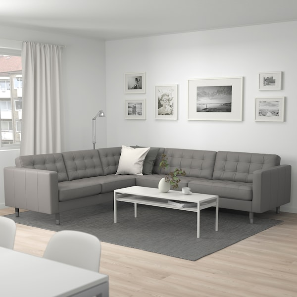 MORABO Sectional, 5-seat corner, Grann/Bomstad gray-green/metal
