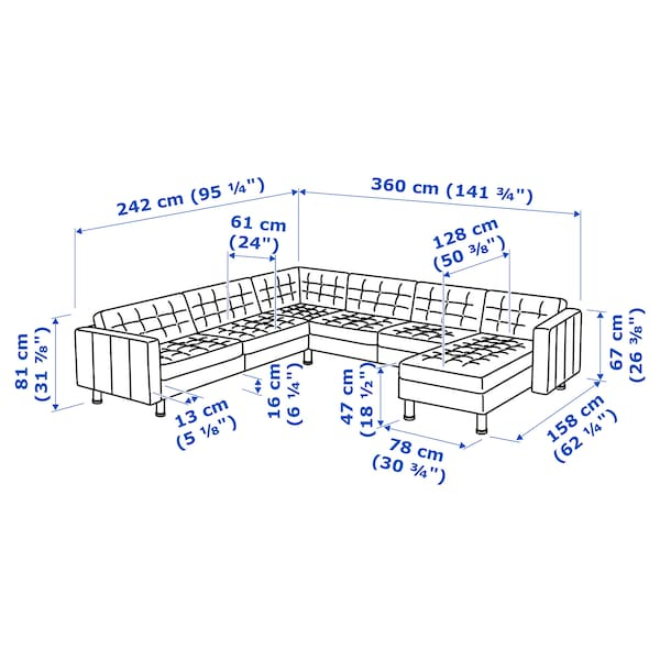 MORABO Sectional, 5-seat, with chaise/Grann/Bomstad black/metal