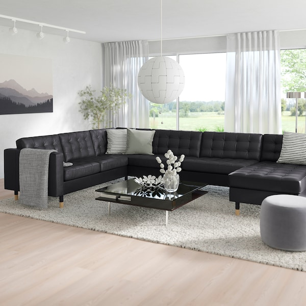 MORABO Sectional, 5-seat, with chaise/Grann/Bomstad black/wood
