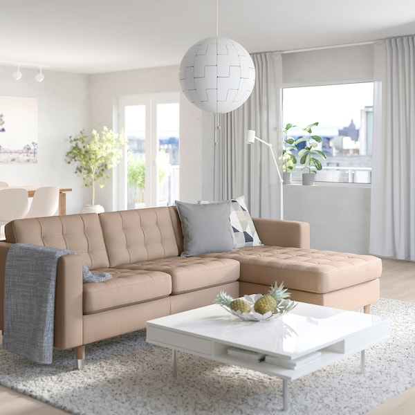 MORABO Sofa, with chaise/Grann/Bomstad dark beige/metal