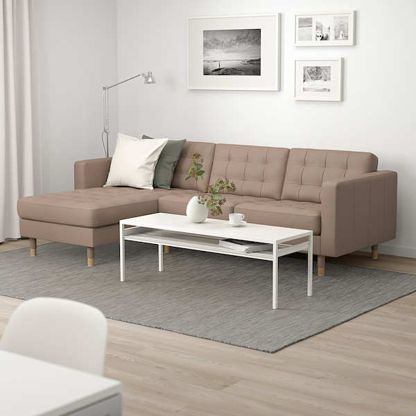 MORABO Sofa, with chaise/Grann/Bomstad dark beige/wood